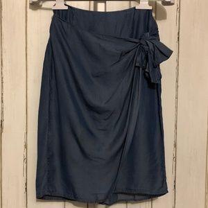 Blue Rain Tie Knot Midi Skirt